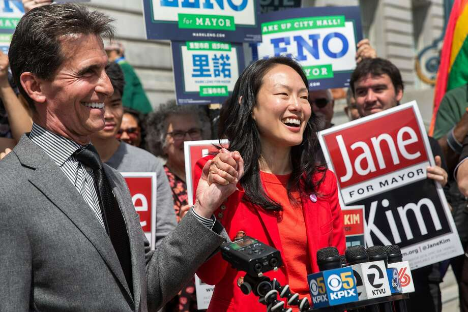 """SF mayoral candidates Jane Kim and Mark Leno are seen together at a press conference to announce the historic """"Standing Together"""" joint campaign ad on Thursday, May 10, 2018. San Francisco Calif. Photo: Jana Asenbrennerova / Special To The Chronicle"""