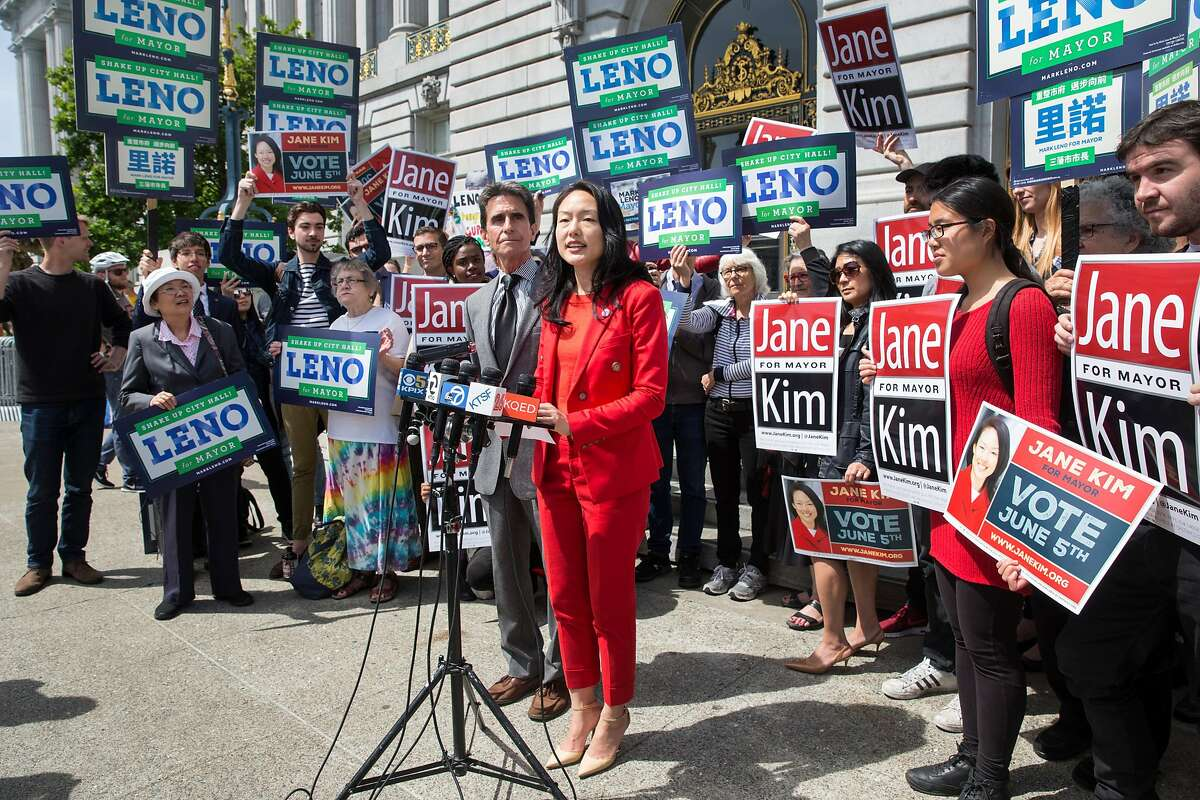 """SF mayoral candidates Jane Kim and Mark Leno are seen together at a press conference to announce the historic """"Standing Together"""" joint campaign ad on Thursday, May 10, 2018. San Francisco Calif."""