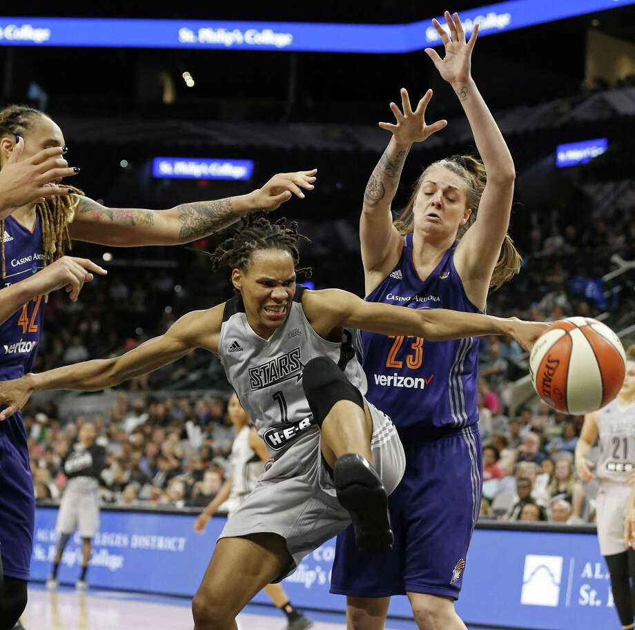 Cayla George, right, who is in her frist training camp with the Sun, has continued to work to make her business, titled Rehmee and Coco, a success. Photo: Edward A. Ornelas / San Antonio Express-News / © 2017 San Antonio Express-News