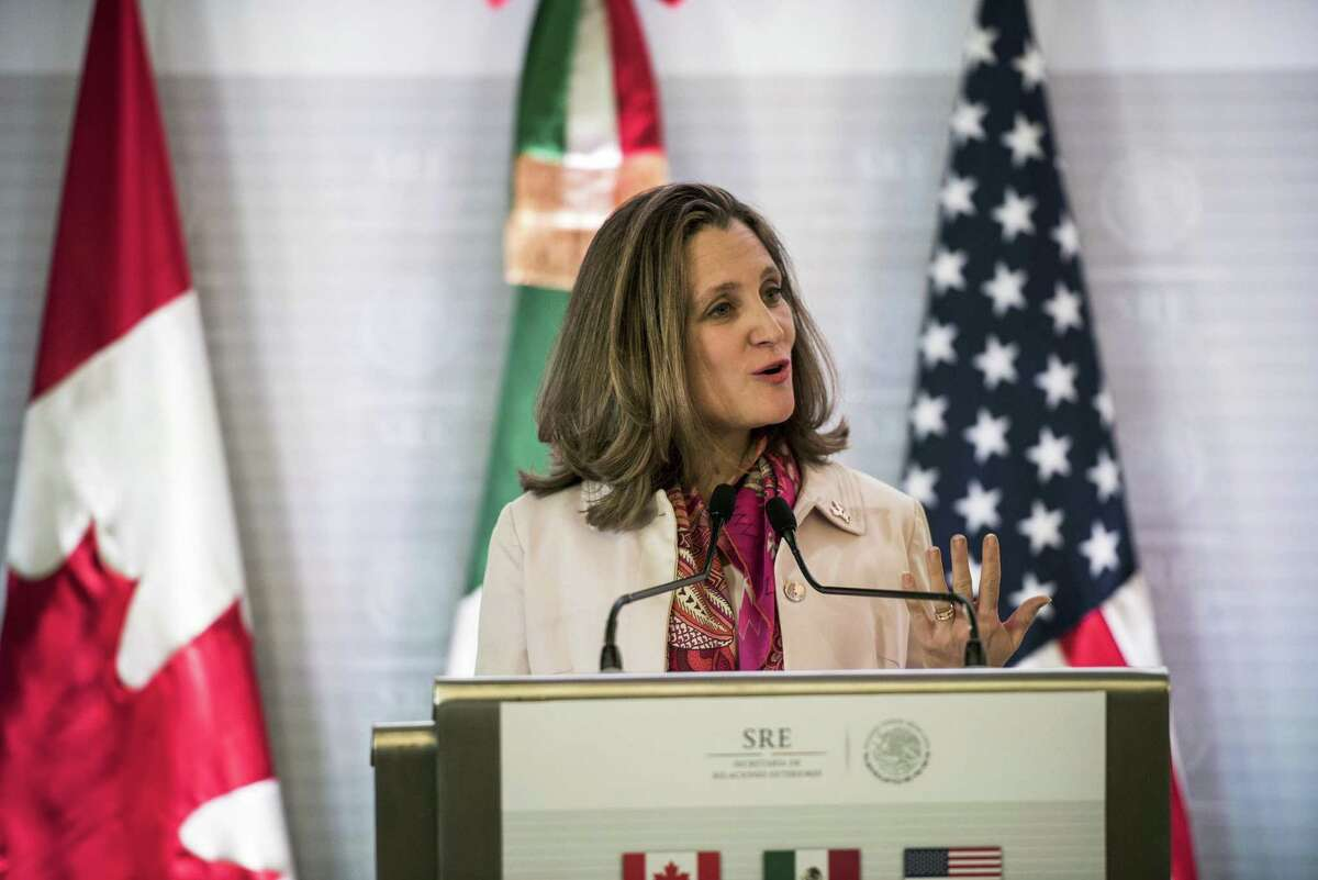 Chrystia Freeland, Canada's minister of foreign affairs, speaks during a joint press conference with Rex Tillerson, U.S. Secretary of State, and Luis Videgaray, Mexico's foreign minister, not pictured, in Mexico City on Feb. 2. MUST CREDIT: Bloomberg photo by Jonathan Levinson