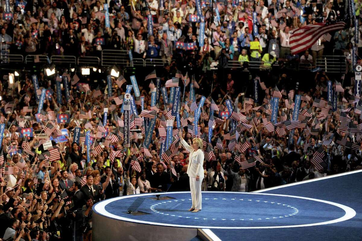 Democratic presidential nominee Hillary Clinton accepts the nomination of the party during the last day of the Democratic National Convention at the Wells Fargo Center in Philadelphia in 2016. (Tom Gralish/Philadelphia Inquirer/TNS)