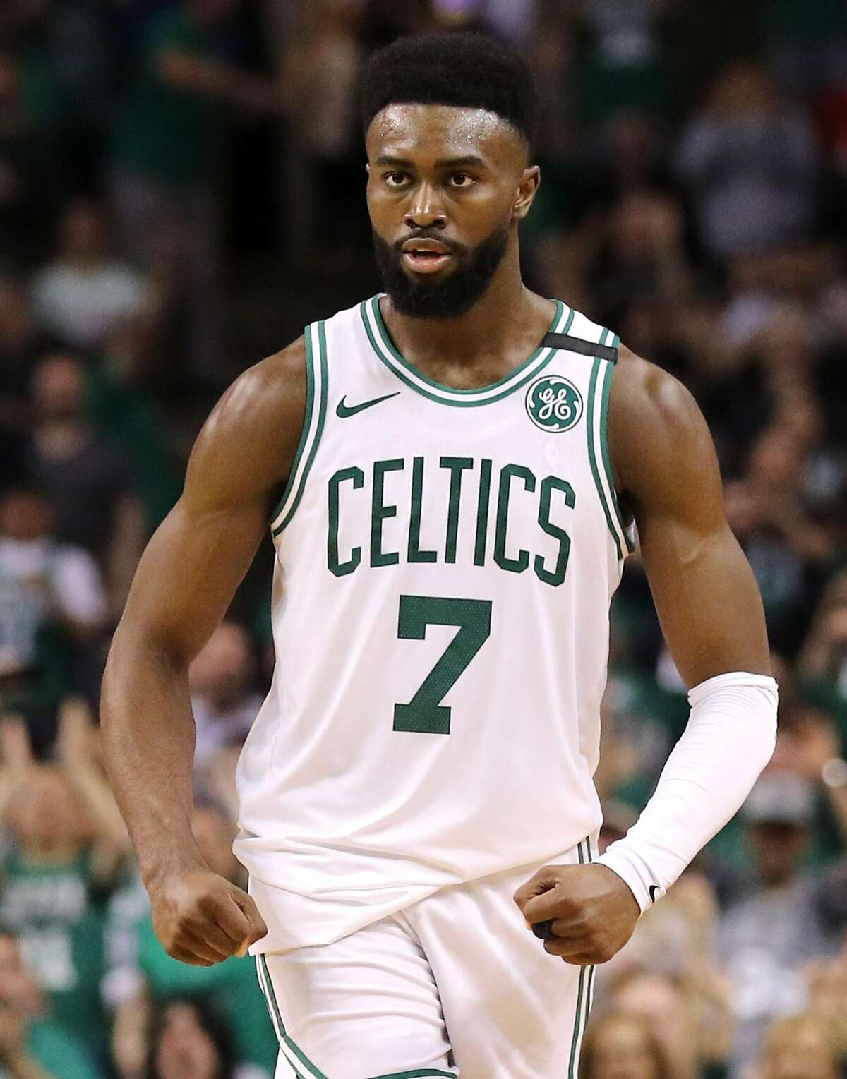 BOSTON, MA - MAY 3: Jaylen Brown #7 of the Boston Celtics celebrates during Game Two of the Eastern Conference Second Round of the 2018 NBA Playoffs against the Philadelphia 76ers at TD Garden on May 3, 2018 in Boston, Massachusetts. The Celtics defeat the 76ers 108-103. (Photo by Maddie Meyer/Getty Images)