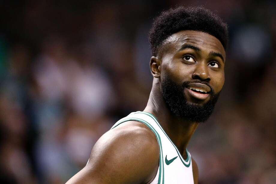 Jaylen Brown #7 of the Boston Celtics looks on during Game Two of the Eastern Conference Second Round of the 2018 NBA Playoffs against the Philadelphia 76ers at TD Garden on May 3, 2018 in Boston, Massachusetts. The Celtics defeat the 76ers 108-103. Photo: Maddie Meyer / Getty Images