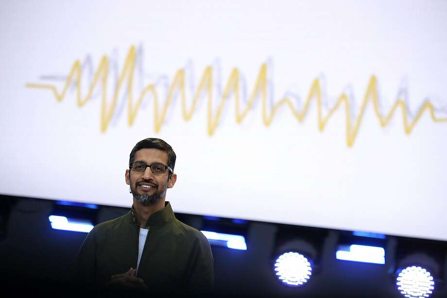 Google CEO Sundar Pichai delivers the keynote address at the Google I/O 2018 Conference at Shoreline Amphitheater in Mountain View. Google previewed Duplex, an experimental service that lets its voice-activated digital assistant book appointments on its own. Photo: Justin Sullivan / Getty Images