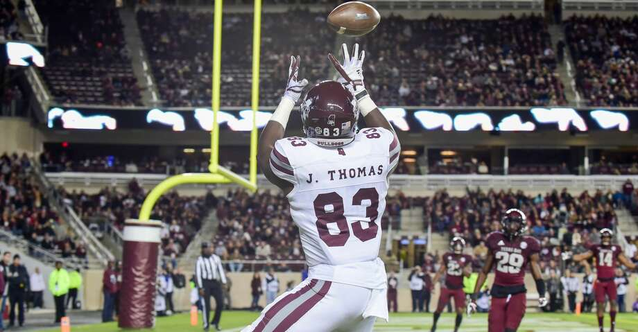 The Texans have agreed to terms on a four-year contract with sixth-round tight end Jordan Thomas. Photo: Icon Sportswire/Icon Sportswire Via Getty Images