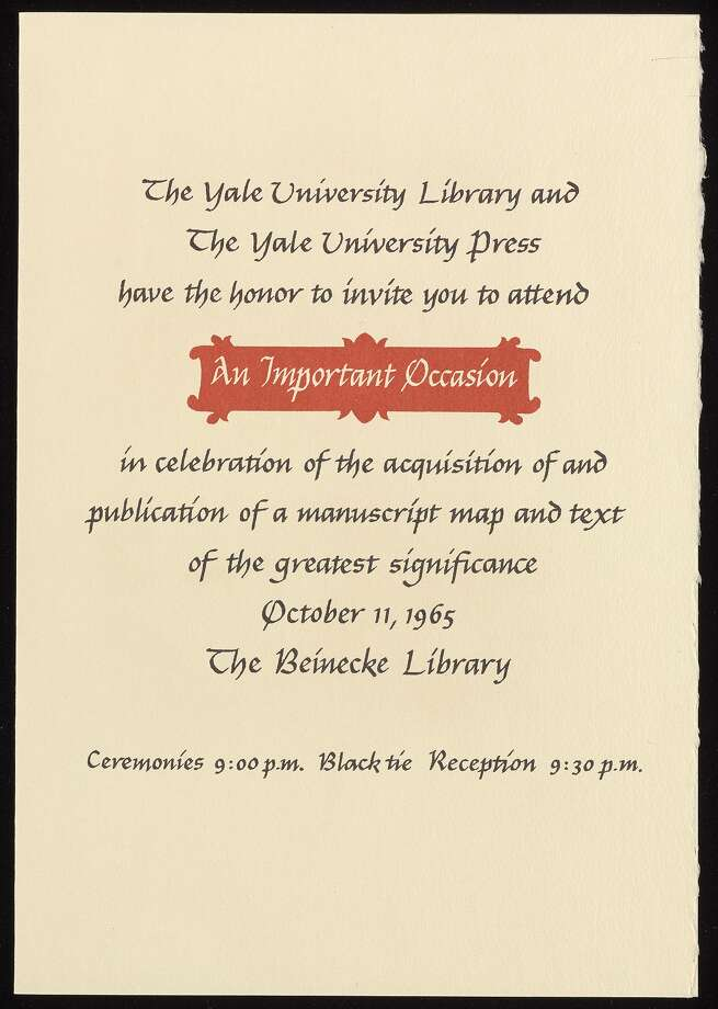 """On October 11, 1965, guests attend a black tie reception at the Beinecke Library, finally learning the subject of what was only called in the invitation, """"an important occasion."""" Photo: Courtesy Beinecke Library, Yale University"""