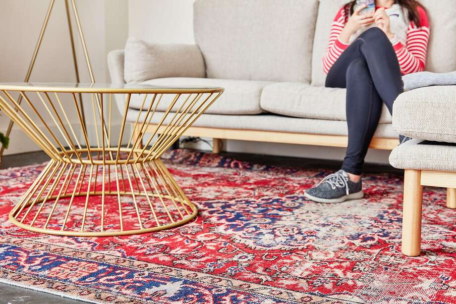 """""""Turkey is one of the epicenters for rugs, and given the reach of the Ottoman Empire, there are different influences that have made these rugs so unique,"""" says Ben Hyman, co-founder of Oakland- and Istanbul-based Revival Rugs, a direct-to-consumer e-commerce company. A Revival rug is seen at the Batch showroom, which rotates home decor quarterly. Photo: R. Brad Knipstein"""