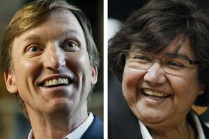 Left, Texas Democratic gubernatorial candidate Andrew White speaks during a San Antonio event Feb. 17, 2018. Right, Texas Democratic gubernatorial candidate and former Dallas County Sheriff Lupe Valdez at San Antonio event, Jan. 12, 2018.