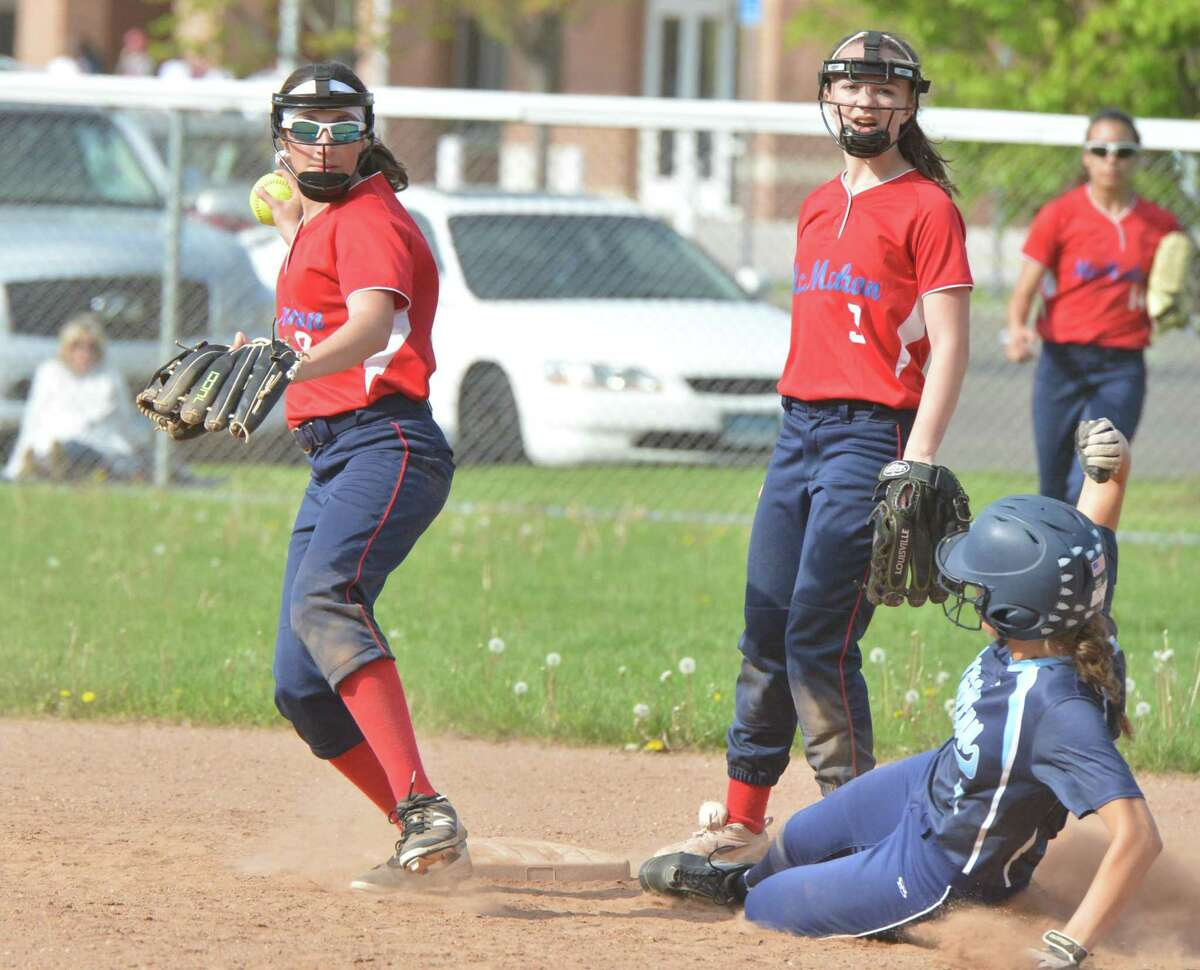 Brien McMahon's # 8 Megan Stefanowicz makes the play at second base vs Wilton High School in softball action on Thursday May 10, 2018 in Norwalk Conn.