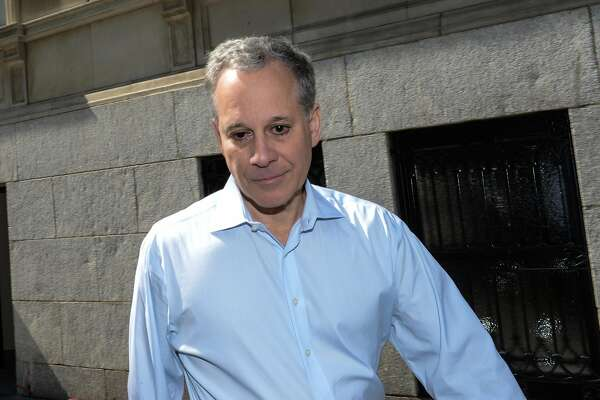 Former Attorney General Eric Schneiderman, who resigned Monday after four women came forward to say he abused and harassed them, leaves his apartment building in Manhattan, N.Y. on Thursday, May 10, 2018. (Marcus Santos/New York Daily News/TNS)