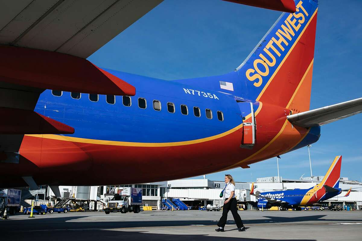 Southwest Airlines planes at Oakland International Airport in Oakland, Calif., Friday, May 4, 2018. The airport is at high risk for sea-level rise in the coming years.