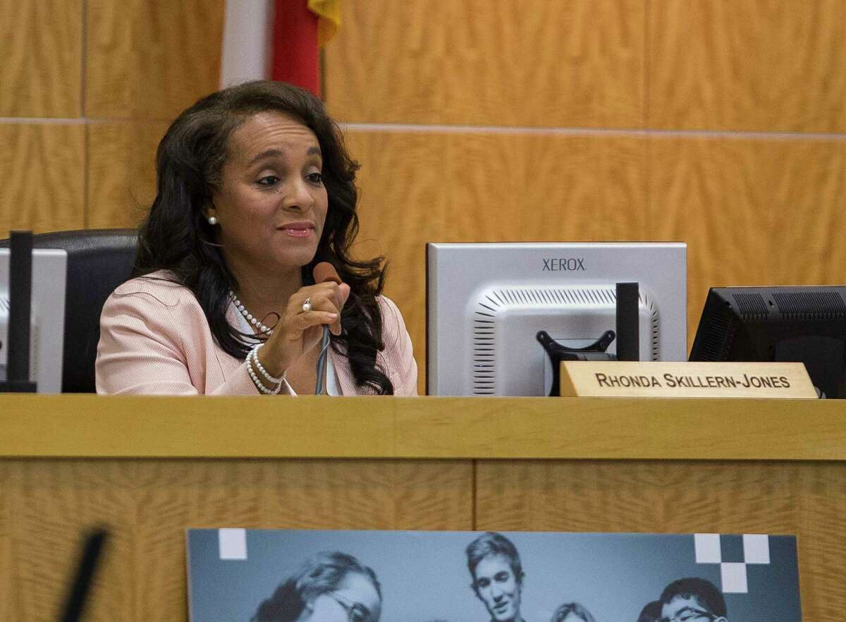 Board president Rhonda Skillern-Jones speaks during a Houston Independent School District board meeting, Thursday, May 10, 2018, in Houston.