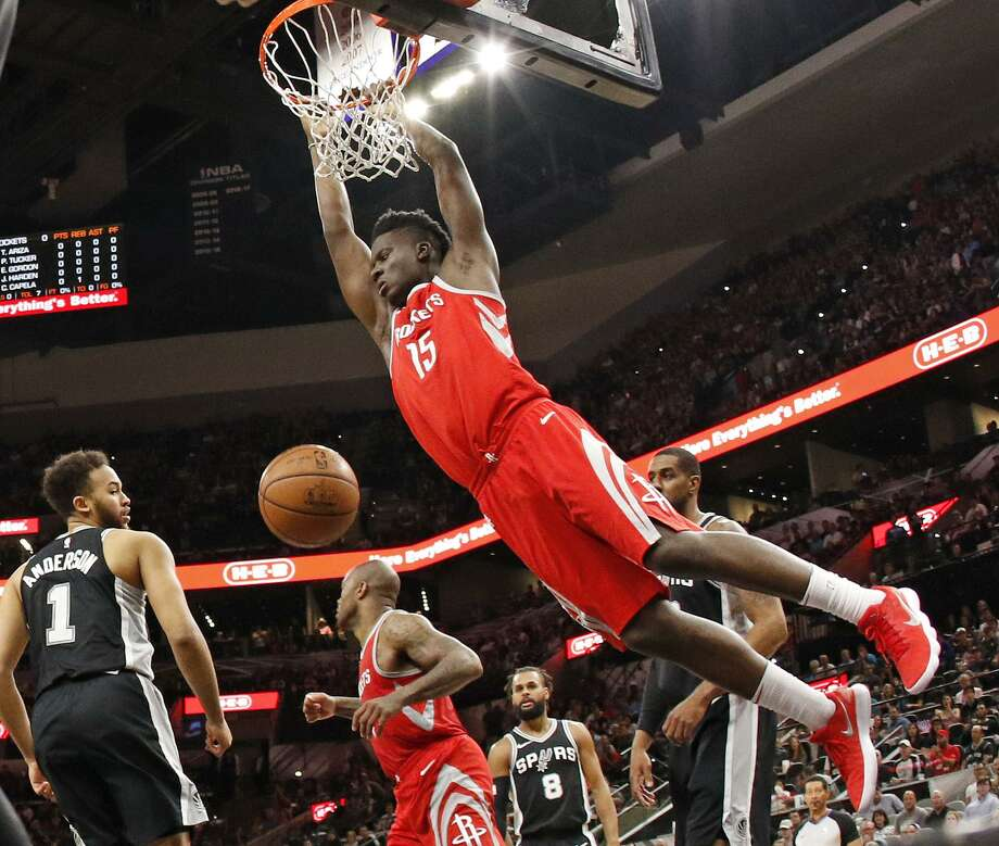 Clint Capela dunks on the Spurs Photo: Ronald Cortes / Getty Images / 2018 Getty Images