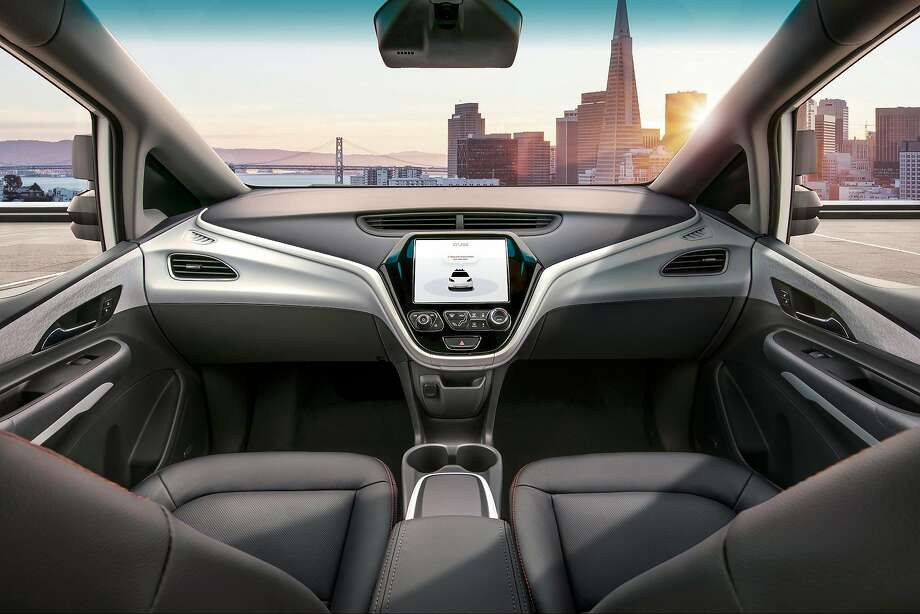 In a photo provided by General Motors, the Cruise AV, with no driving wheel or pedals, could be ready for commercial ride services next year if it gets the necessary federal and state approvals.  Photo: General Motors