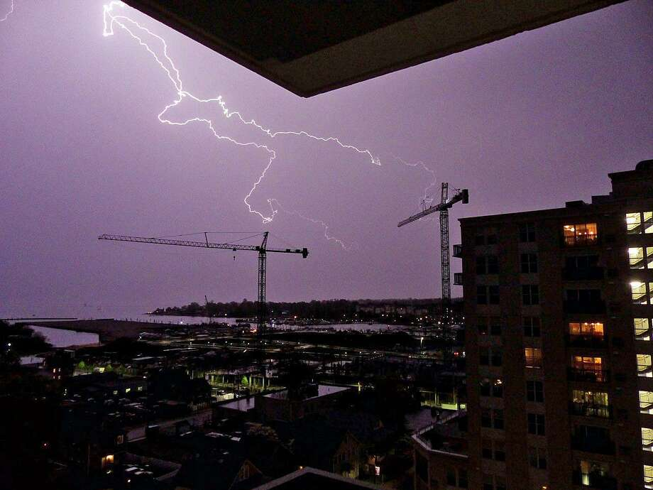James Holl took this photo from his Harbor Point apartment in Stamford as a strong line of thunderstorms passed through southwest Connecticut on Thursday, May 10, 2018, Photo: Photo Courtesy Of James Holl