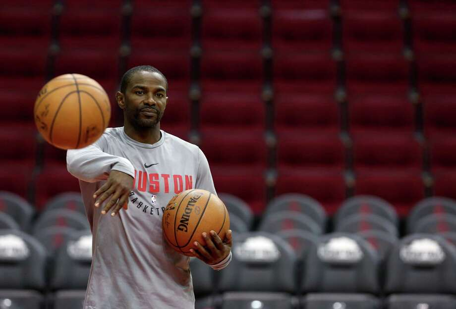 Houston Rockets intern coach Mike James tosses a basketball back to a player during team practice at Toyota Center Tuesday, May 1, 2018, in Houston. ( Godofredo A. Vasquez / Houston Chronicle ) Photo: Godofredo A. Vasquez, Houston Chronicle / Houston Chronicle / Godofredo A. Vasquez
