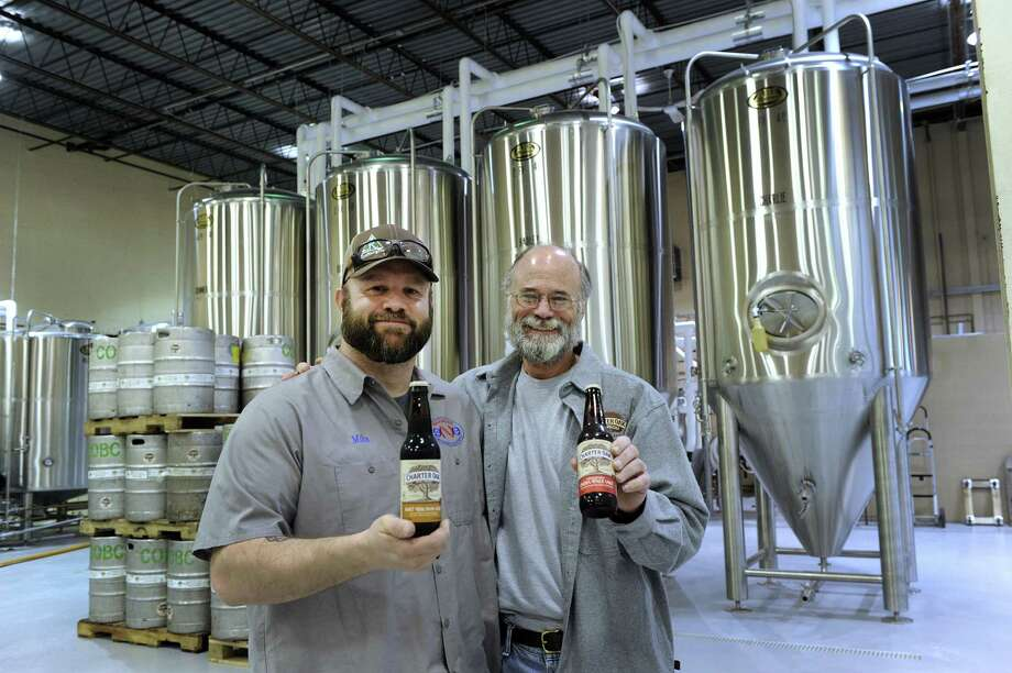 Mike Granoth, left, brewer and Scott Vallely, owner and brewer at the Charter Oak Brewing Co., a new brewery about to open on Shelter Rock Road in Danbury. Photo: Carol Kaliff / Hearst Connecticut Media / The News-Times