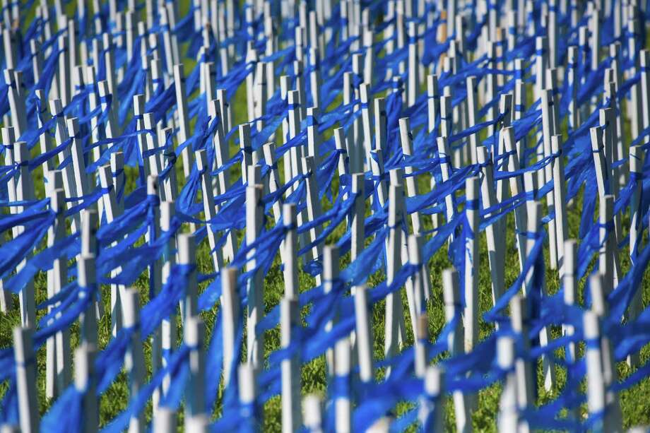 A field of white stakes clad with a blue ribbon in observance of National Child Abuse Prevention Month in April was erected on the front lawn of the Historic Courthouse in Richmond, Ft. Bend County last year. Each stake symbolizes an abused or neglected child. Photo: Marie D. De Jesus /Houston Chronicle / Stratford Booster Club