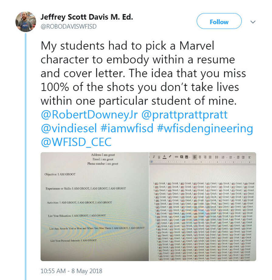 "A Wichita Falls ISD student's 'I am Groot"" resume and cover letter went viral after teacher Jeff Davis posted it on Twitter and Facebook. Image source: TwitterLearn Texas history facts they don't teach in school anymore.  Photo: Jeffrey Scott Davis Via Twitter"