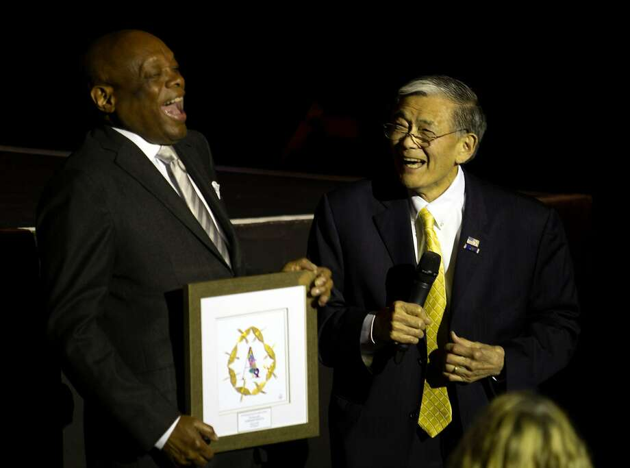 Former San Francisco Mayor Willie Brown (left) presents the Asian Pacific American Heritage Award for Lifetime Impact to former San Jose Mayor Norm Mineta at CAAMFest. Photo: D. Ross Cameron / Special To The Chronicle