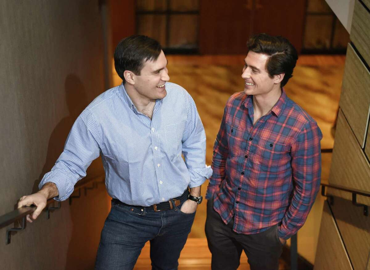 Voro co-founders Tomas Hoyos, left, and Drew Tunney at J House in Greenwich. The two Brunswick School grads recently launched Voro, a website database that helps people share recommendations for finding medical professionals.