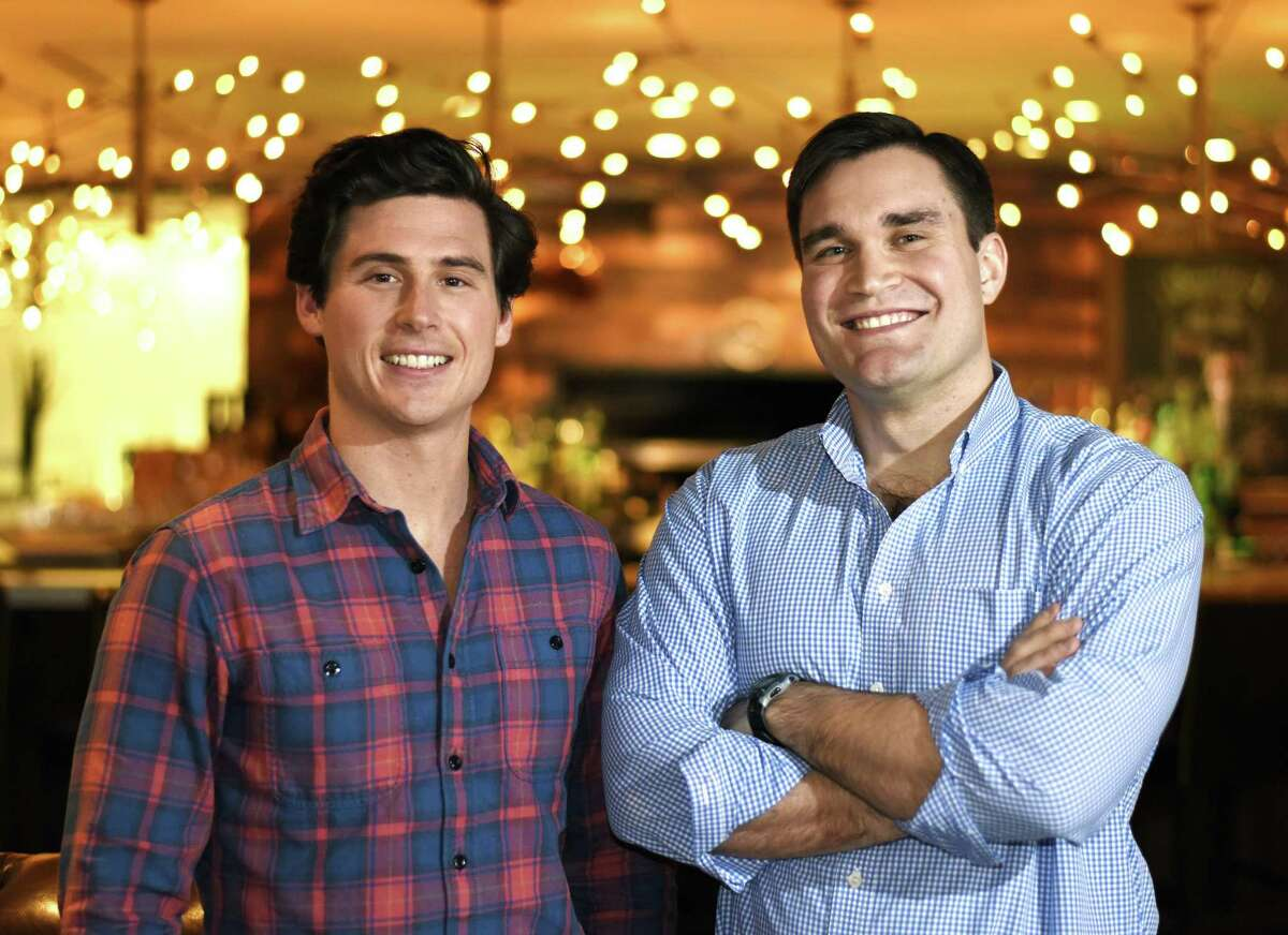 Voro co-founders Drew Tunney, left, and Tomas Hoyos pose at J House in the Riverside section of Greenwich, Conn. Monday, March 12, 2018. The two Brunswick grads recently launched Voro, a website database that helps people share recommendations for finding medical professionals.