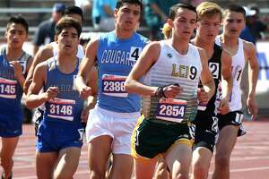 Little Cypress-Mauriceville's Eli Peveto competes in the 4A, 3,200 meter run at the State Championship meet in Austin on Friday, May 11. Peveto placed fourth in the event.  Photo taken Friday, May 11, 2018 Guiseppe Barranco/The Enterprise
