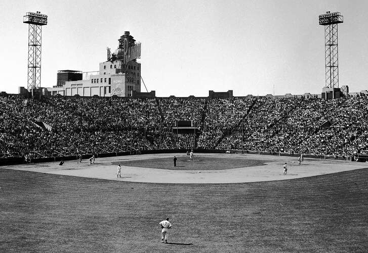 May 19, 1949: The San Francisco Seals play at their longtime home in the Mission District, Seals Stadium. The working class stadium, which had a live seal in the lobby for many years, hosted the Seals from 1931 to 1957 and the San Francisco Giants during the team's first year after its 1958 move from New York. Rainier Brewery can be seen in the distance - there were multiple breweries next door to the ballpark, and the smell of hops was ever-present during baseball games. The photo was taken by Bob Campbell, a longtime staff photographer who joined the Chronicle after serving in World War II.
