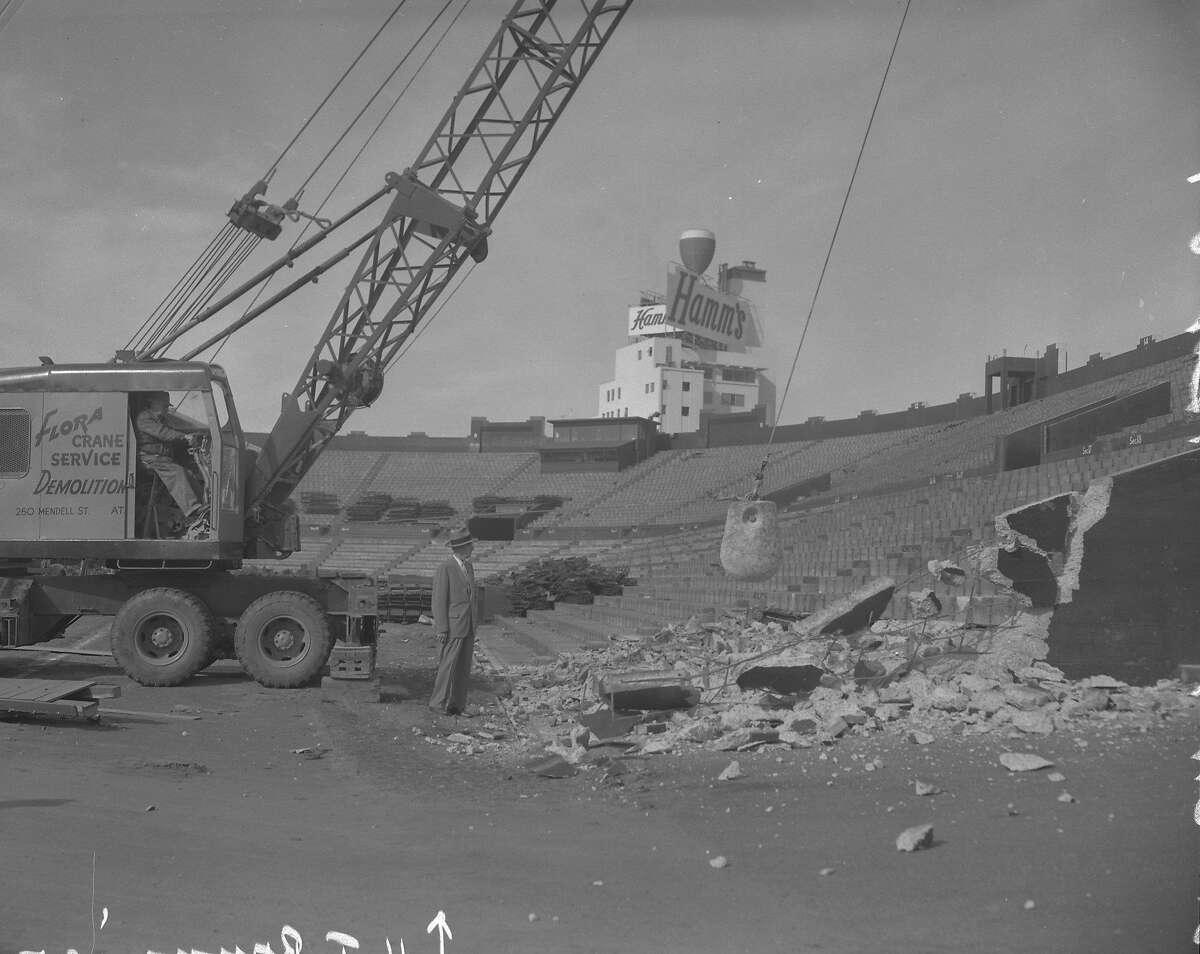 Demolition of Seals Stadium with Hamm's beer plant in background Photos shot 11/04/1959