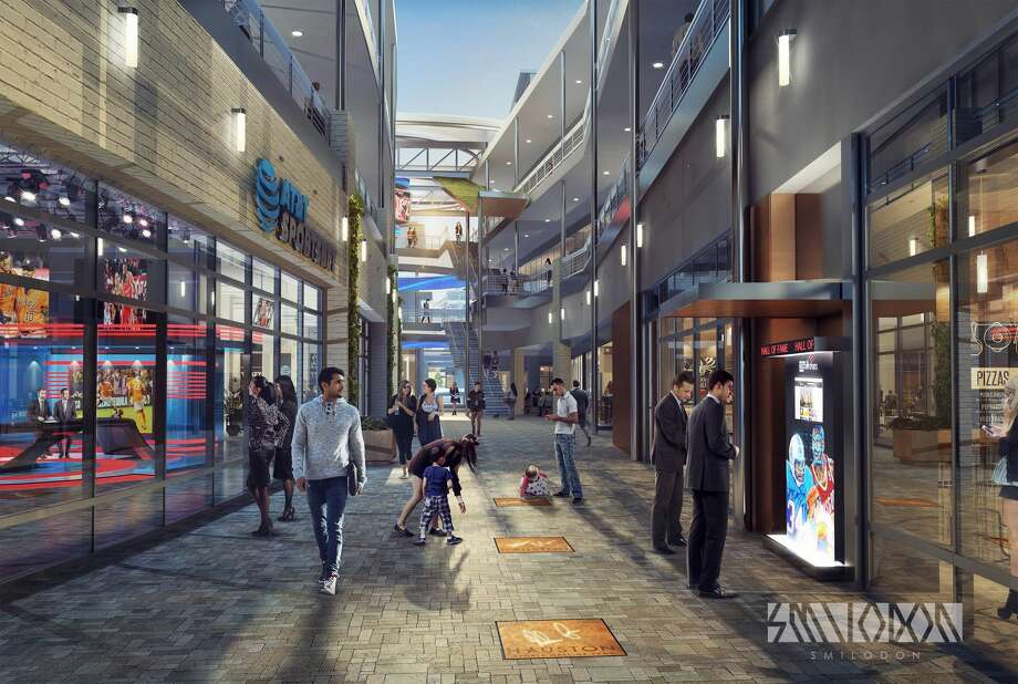Artist's rendering of the upcoming Houston Sports Hall of Fame walkway and Green Street downtown. Photo: Courtesy Harris County-Houston Sports Authority