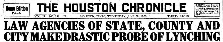 1928 Chronicle headline.