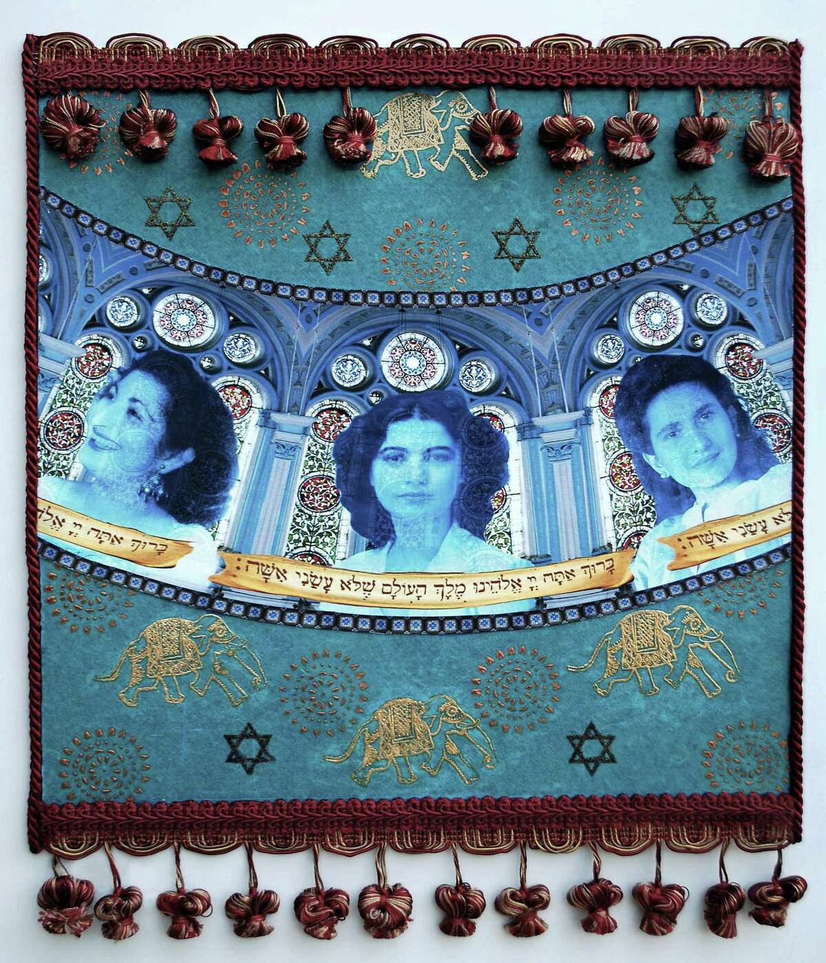 """""""Magic Carpet Ride,"""" by artist Camille Eskell, explores her ethnic and familial background. Featured are her mother, center, and two of her aunts."""