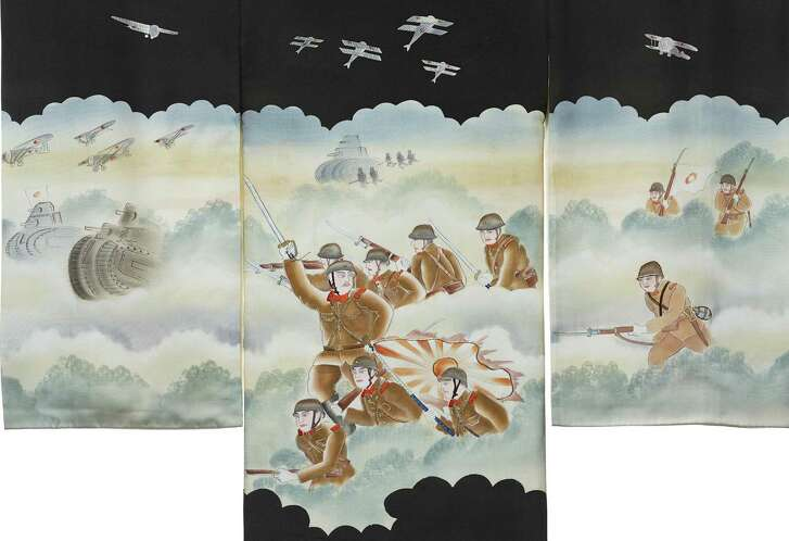 Detail of the hand-painted design on a newborn's wrapping garment (omiyamairi) (ca. 1935)