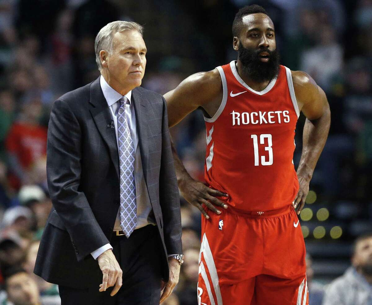 Houston Rockets head coach Mike D'Antoni stands with James Harden (13) during the third quarter of an NBA basketball game against the Boston Celtics in Boston, Thursday, Dec. 28, 2017. The Celtics won 99-98. (AP Photo/Michael Dwyer)