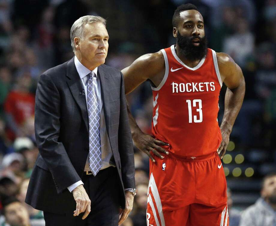 Houston Rockets head coach Mike D'Antoni stands with James Harden (13) during the third quarter of an NBA basketball game against the Boston Celtics in Boston, Thursday, Dec. 28, 2017. The Celtics won 99-98. (AP Photo/Michael Dwyer) Photo: Michael Dwyer / AP / AP2017