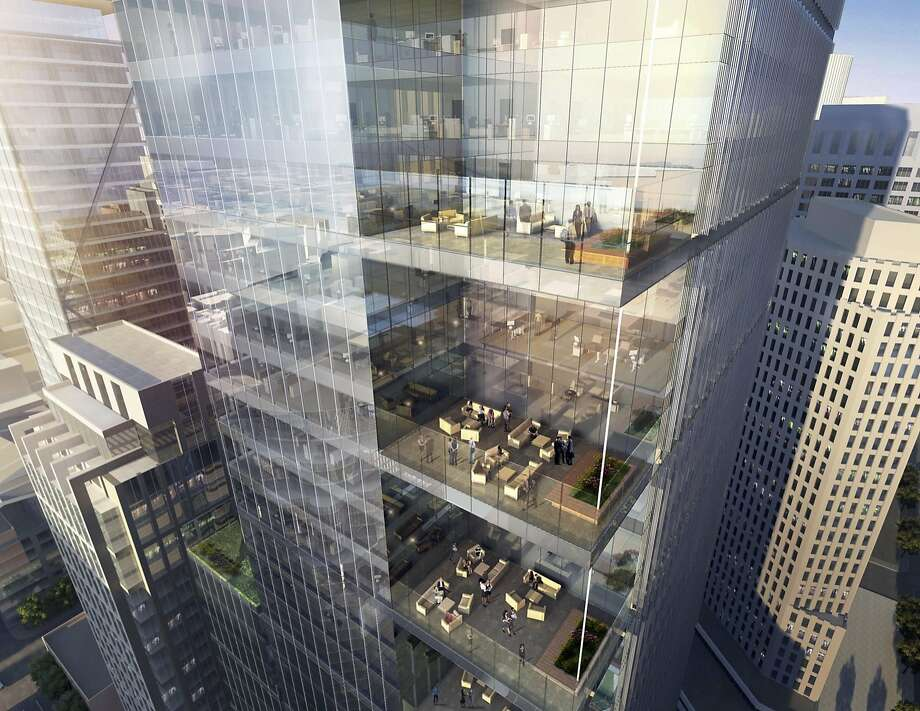 A rendering shows plans for Park Tower at Transbay, a 43-floor building near the Salesforce Tower at 250 Howard St. Photo: Jones Lang LaSalle
