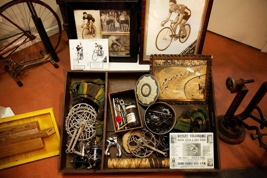 Some memorabilia from the velodrome days of bicycle racing at the U.S. Bicycling Hall of Fame in Davis. Photo: Sarah Rice / Special To The Chronicle 2015
