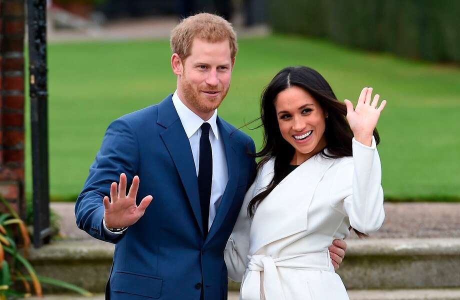 Engaged couple Britain's Prince Harry and Meghan Markle pose for the media at Kensington Palace in London in 2017. The royal nuptials will take place on May 19. Photo: Eddie Mulholland / Associated Press 2017