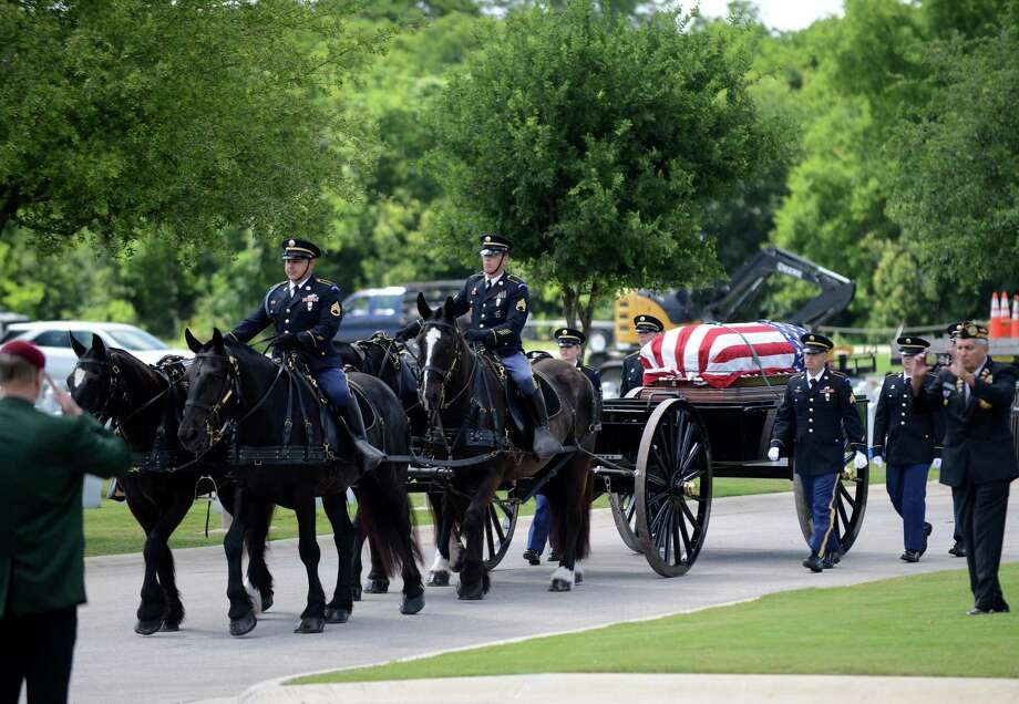 A caisson carries the casket of Army Maj. Donald Carr, who was presumed killed in Kon Tum Province, Vietnam, on July 6, 1971, during a service with full military honors at Fort Sam Houston National Cemetery on Friday, May 11, 2018. There are still 1,598 American military and civilians still unaccounted for from the Vietnam War. Photo: Billy Calzada, VIETNAM MIA SERVICE / Billy Calzada / SAN ANTONIO EXPRESS-NEWS