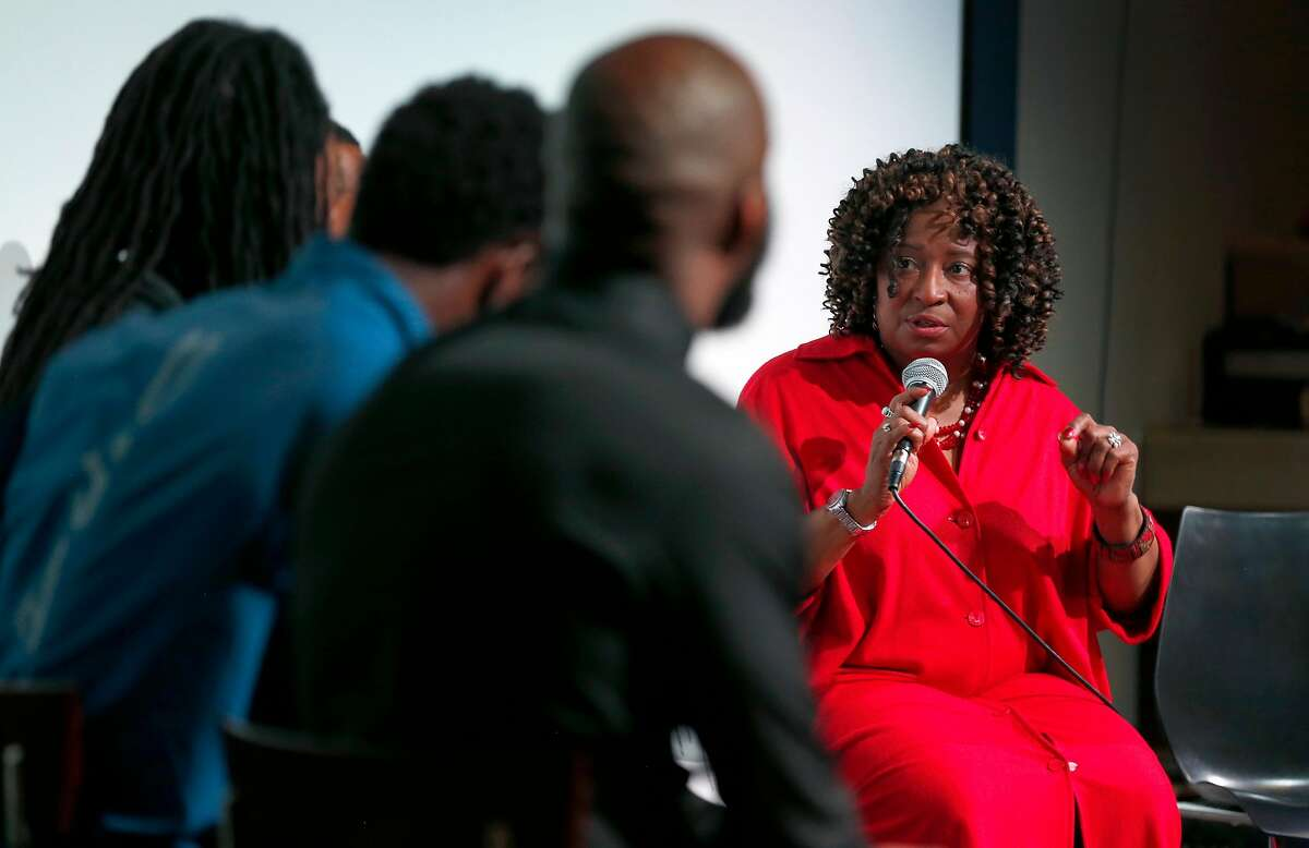 Alameda County district attorney candidate Pamela Price speaks during a panel discussion moderated by NFL players Malcolm Jenkins, Doug Baldwin, Richard Sherman and Johnson Bademosi of the Players Coalition in Oakland, Calif. on Friday, May 11, 2018. Incumbent DA Nancy O'Malley was invited to attend but declined.
