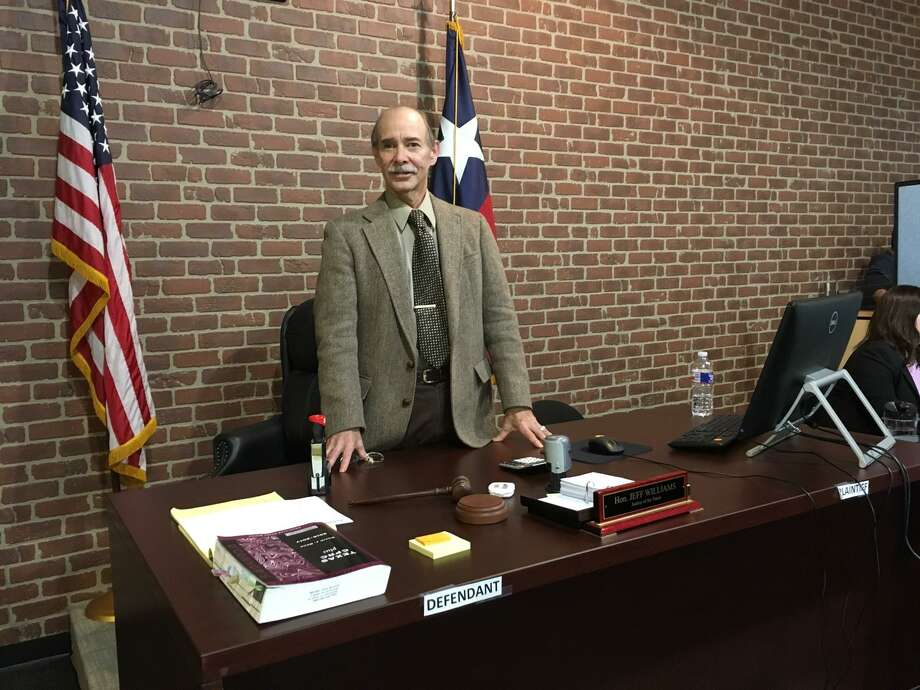 The temporary courtroom for Judge Jeff Williams, Harris County Precinct 5, Place 2 justice of the peace, can accommodate 50 people. Williams is running for re-election and facing opponent Mike Wolfe in a May 22 Republican primary runoff. Photo: Karen Zurawski / Karen Zurawski