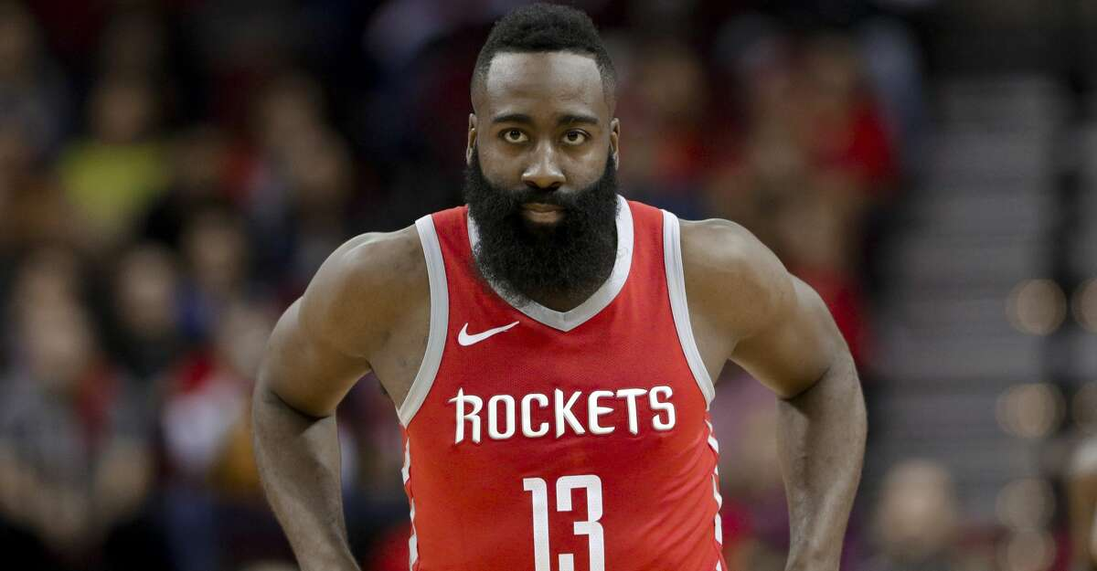 Houston Rockets guard James Harden (13) reacts to a foul call during the first half of an NBA basketball game against the Oklahoma City Thunder Saturday, April 7, 2018, in Houston. (AP Photo/Michael Wyke)