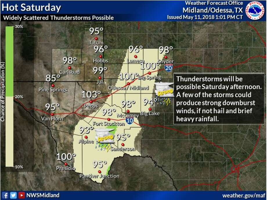 """It will be hot Saturday with widely scattered thunderstorms possible over the eastern Permian Basin and the Stockton Plateau. Some of the storms could produce strong winds, if not a dry lightning strike or two."" Photo: National Weather Service"