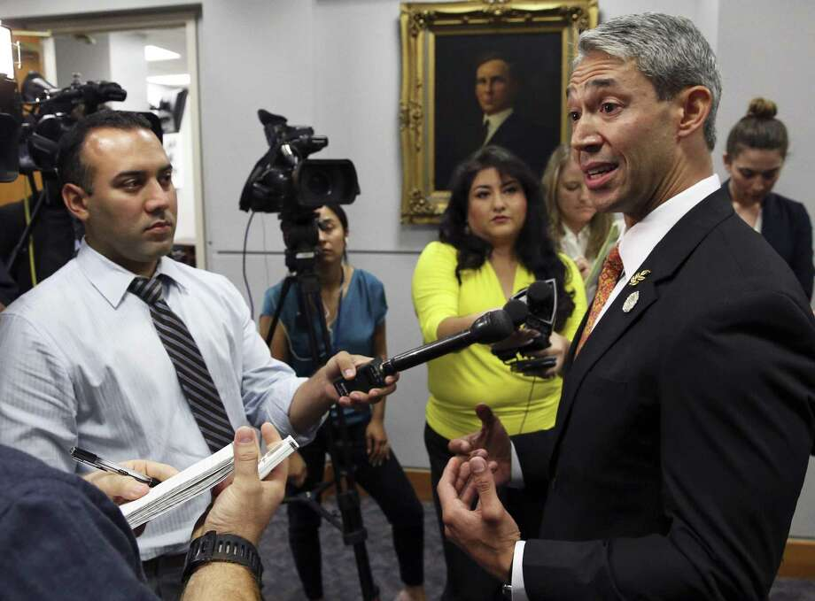 Mayor Ron Nirenberg answers questions after the City council goes behind closed doors to debate the issue of the possible RNC 2020 convention in San Antonio on May 3. Photo: Tom Reel /San Antonio Express-News / 2017 SAN ANTONIO EXPRESS-NEWS
