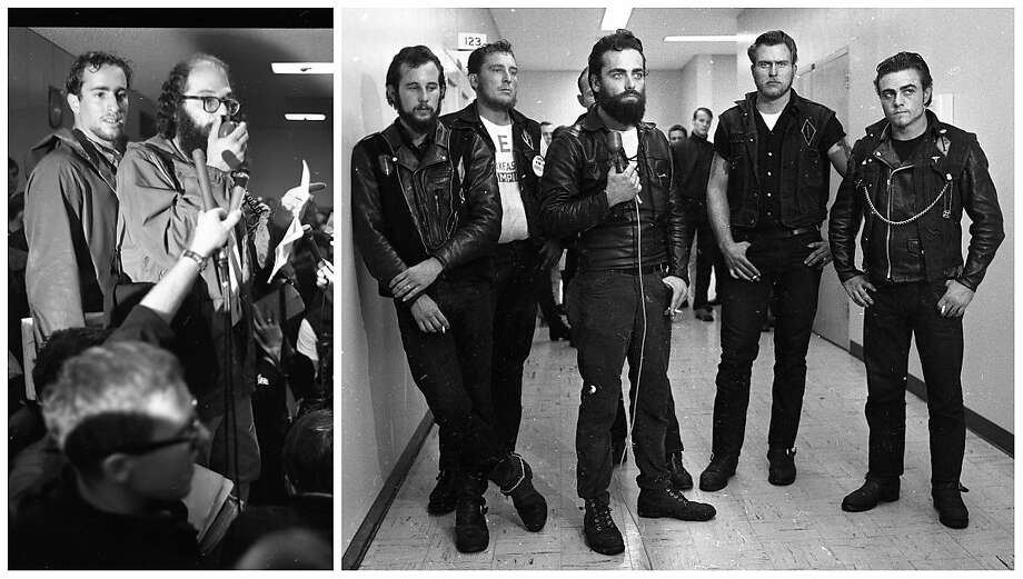 A photo composite of Beat Generation poet Allen Ginsberg and Hells Angels members during a 1965 Vietnam War protest. Photo: Bob Campbell / The Chronicle 1965
