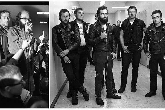 A photo composite of Hells Angels members and Beat Generation poet Allen Ginsberg during a 1965 Vietnam War protest.
