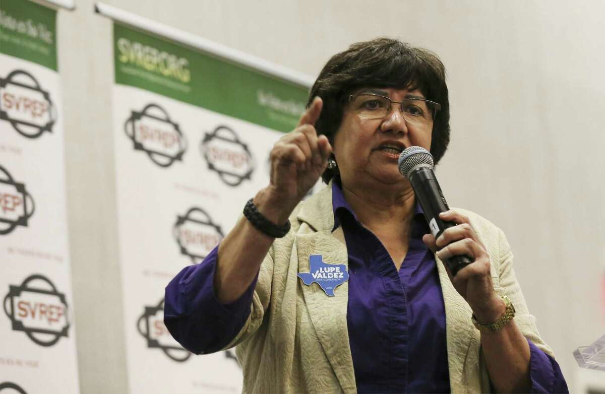 Dallas County Sheriff Lupe Valdez attends and speaks at the Southwest Voter Registration Education Project Willie Velásquez Benefit Dinner on Wednesday, May 9, 2018. Valdez is in a run-off against Andrew White for the Democratic pick for Texas governor. The winner between Valdez and White will run against incumbent Republican Texas Gov. Greg Abbott. (Kin Man Hui/San Antonio Express-News)