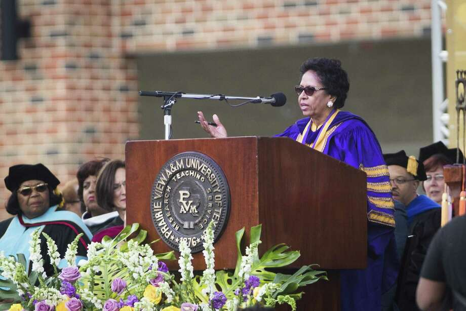 Prairie View A&M University President Dr. Ruth J. Simmons gives her first address as president of Prairie View A&M University, Friday, April 20, 2018, in Prairie View. Photo: Marie D. De Jesus, Houston Chronicle / Houston Chronicle / © 2018 Houston Chronicle