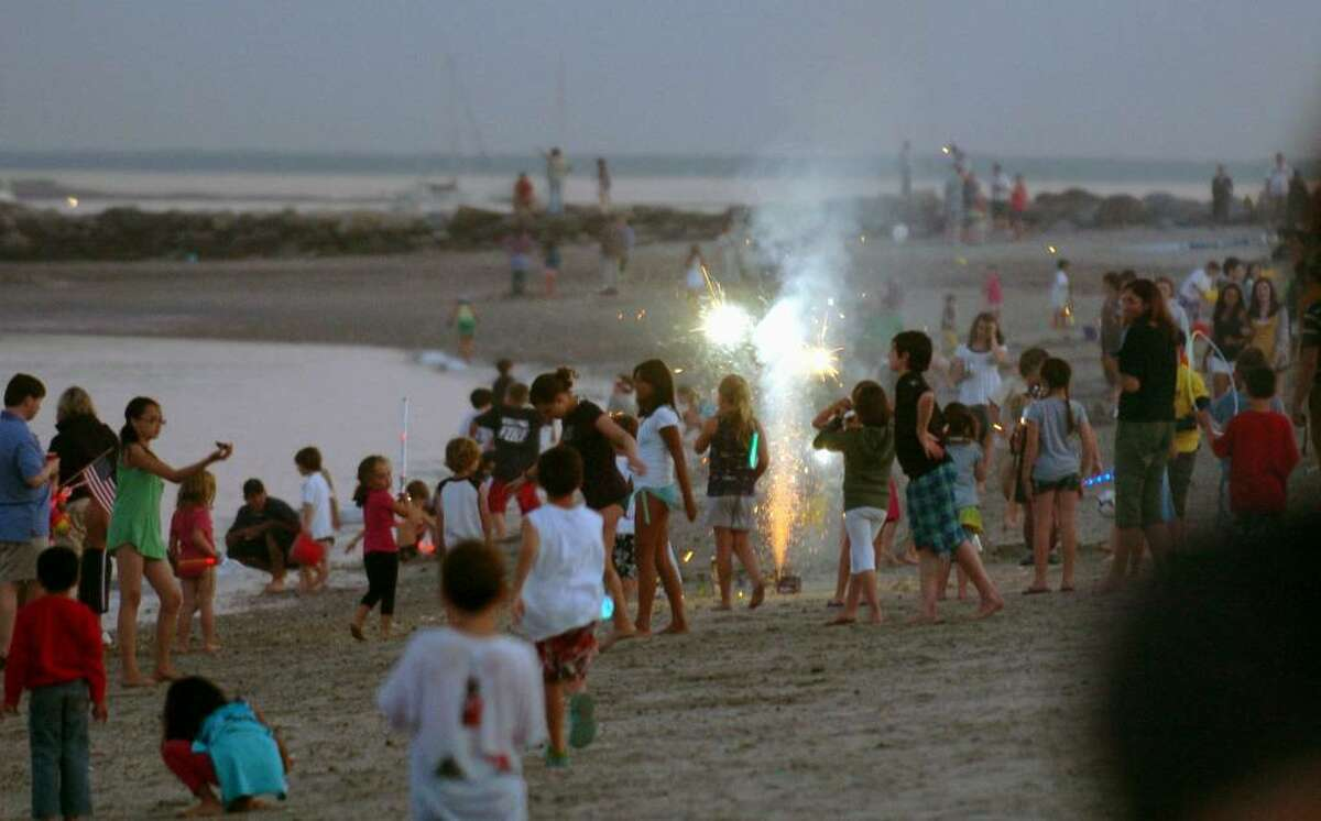 The Annual Independence Day Fireworks celebration at Compo Beach in Westport, Conn. on Friday July 02, 2010.
