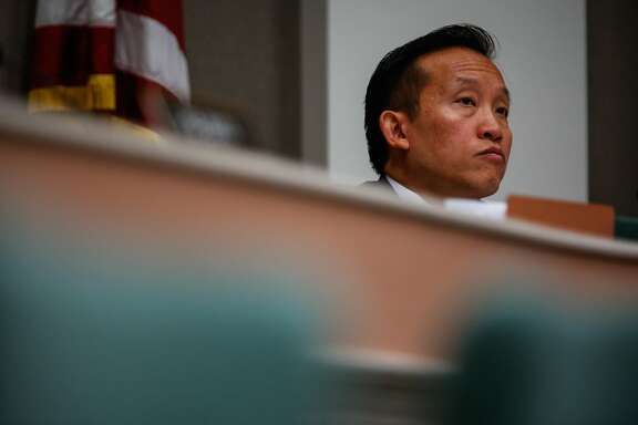 Assembly member David Chiu (center) listens during a hearing to decide whether or not to repeal the Costa Hawkins Rental Housing Act at the State Capital in Sacramento, Calif., on Thursday, Jan. 11, 2018.  The Costa Hawkins Rental Housing Act did not pass.